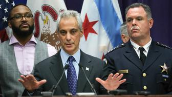 Mayor Rahm Emanuel and Chicago Police Supt. Garry McCarthy, hold a news conference at Chicago Police Headquarters in Chicago on Tuesday, Nov. 24, 2015. After the the news conference they released the 2014 video of Laquan McDonald being shot and killed by Chicago Police officer Jason Van Dyke. (Nuccio DiNuzzo/Chicago Tribune/TNS via Getty Images)
