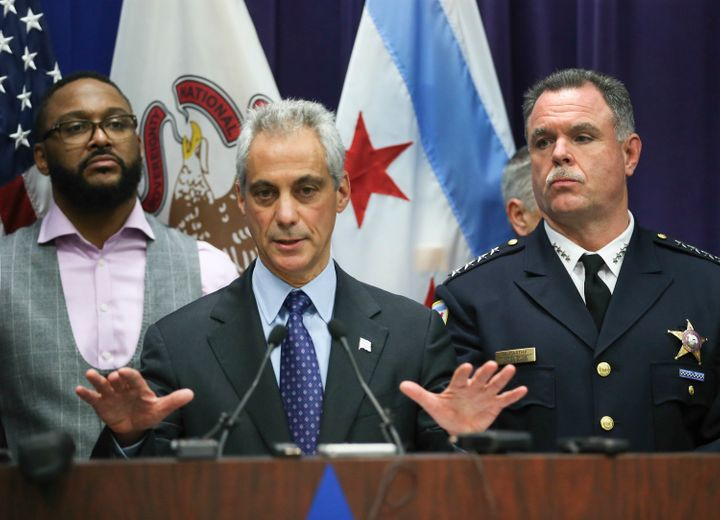 Mayor Rahm Emanuel and Chicago Police Supt. Garry McCarthy, hold a news conference at Chicago Police Headquarters in Chicago