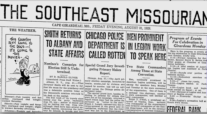 "A 1928 article in the Southeast Missourian, which features the headline, ""Chicago Police Department Is Called Rotten."""