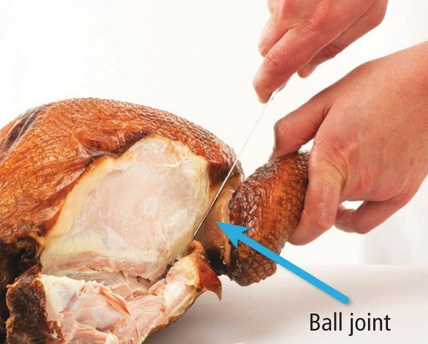 Work the tip of the knife between the ball joint of the wing and the socket.