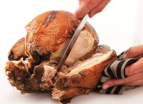 Steady the turkey carcass with the carving fork and repeat steps 15-18 with the other side of the breast.