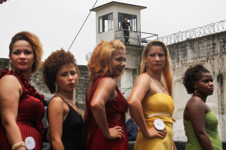 Inmate contestants stand during the annual beauty pageant at the Talavera Bruce women's prison