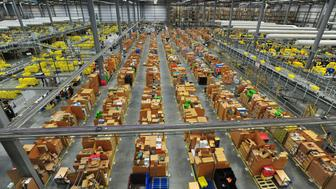 A view of the warehouse at the Amazon fulfillment centre in Hemel Hempstead, Hertfordshire, as it prepares for Black Friday and the busy Christmas period.