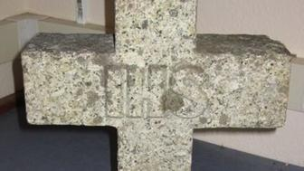 A thief used this gravestone to rob a jewelry store in Cornwall, England