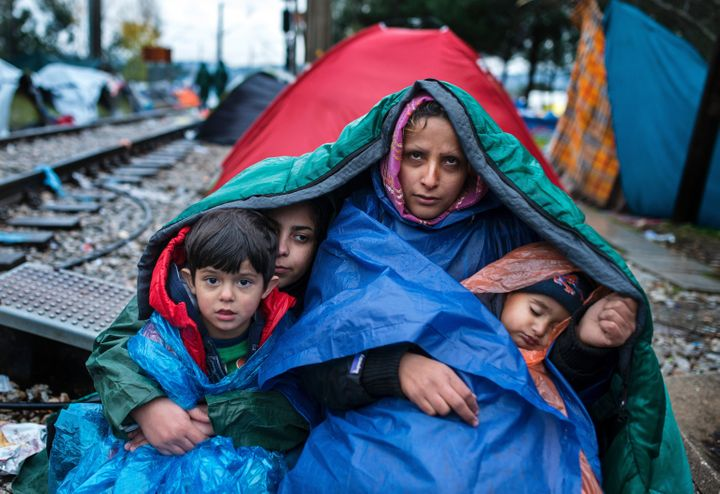A woman and her childrennear the Greece-Macedonia border.