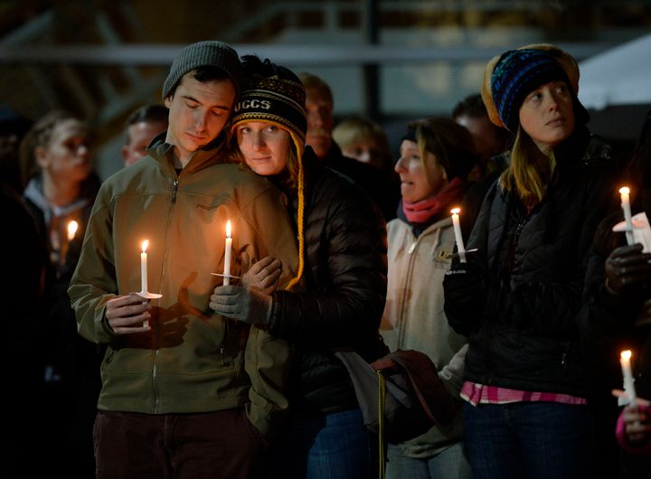 The University of Colorado at Colorado Springs held a candlelight vigil at the Gallogy Events Center November 28, 2015 for UC