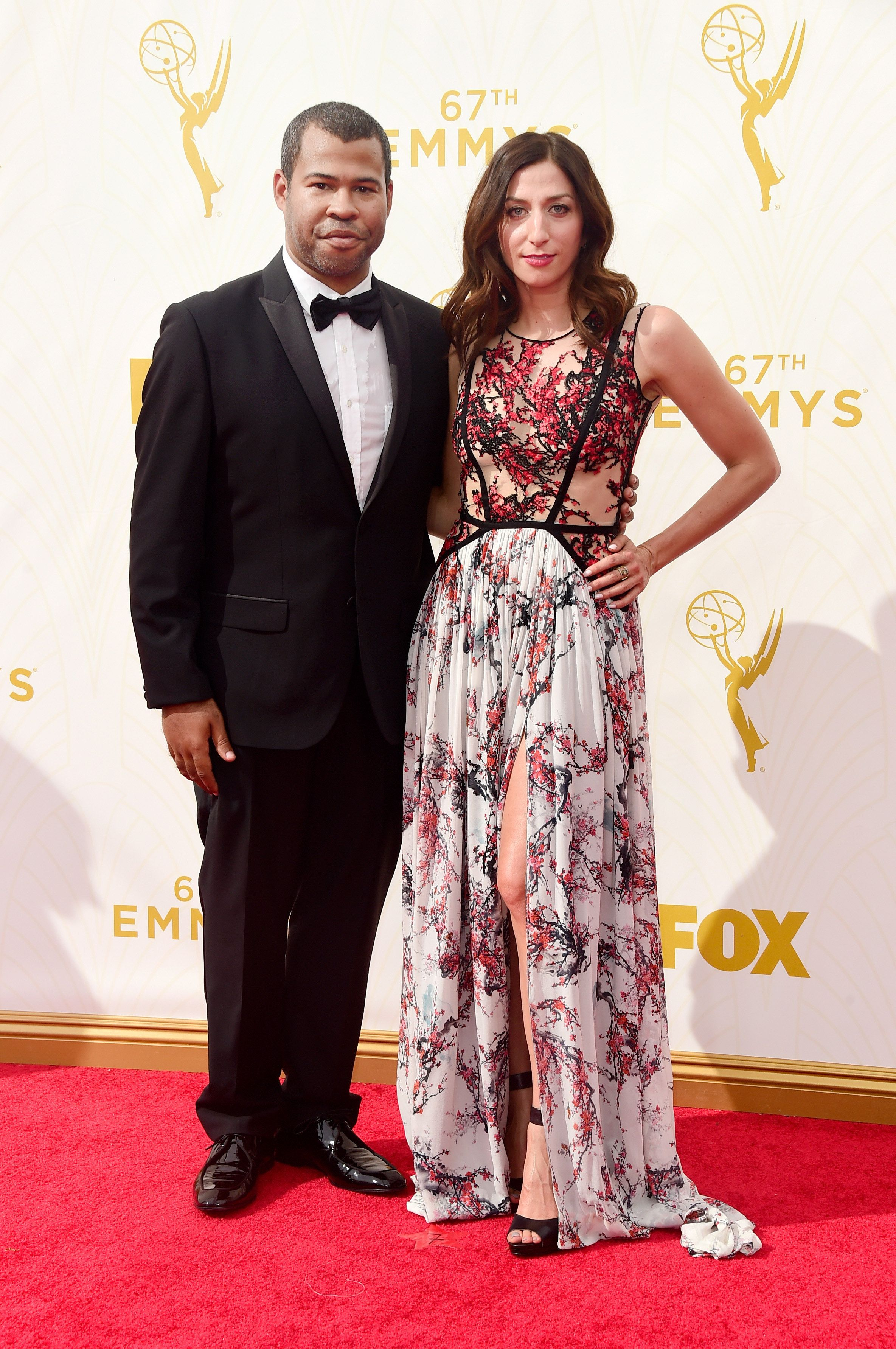 LOS ANGELES, CA - SEPTEMBER 20: Actors Jordan Peele (L) and Chelsea Peretti  attend the 67th Annual Primetime Emmy Awards at Microsoft Theater on September 20, 2015 in Los Angeles, California.  (Photo by Frazer Harrison/Getty Images)