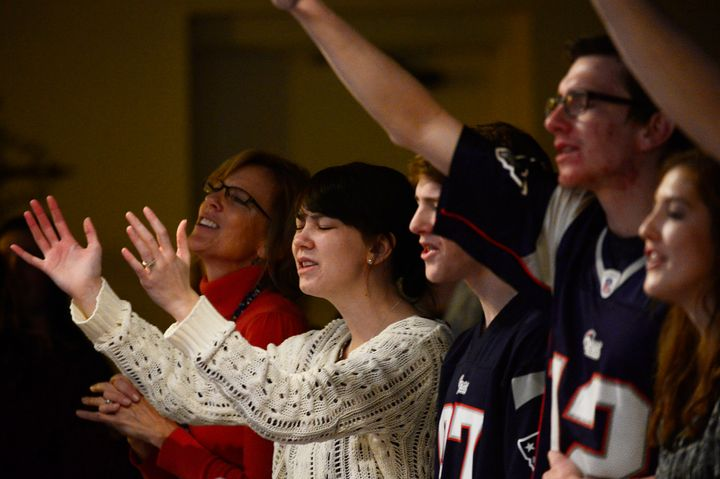 Churchgoers sing at the beginning of service at Hope Chapel on Nov. 29, 2015, in Colorado Springs, Colorado.