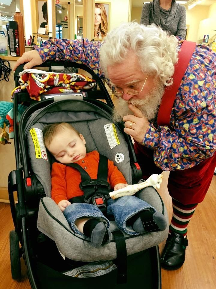 Little Zeke returned to the mall Sunday to visit with Santa. Once again, he snoozed through their visit.