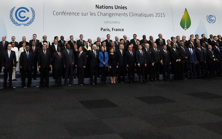 World leaders pose for a family picture during the COP21, United Nations Climate Change Conference, in Le Bourget, outside Pa