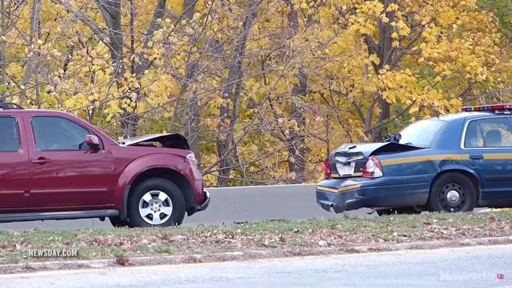 A New York state trooper was also injured after his patrol vehicle was struck from behind while responding to the scene.