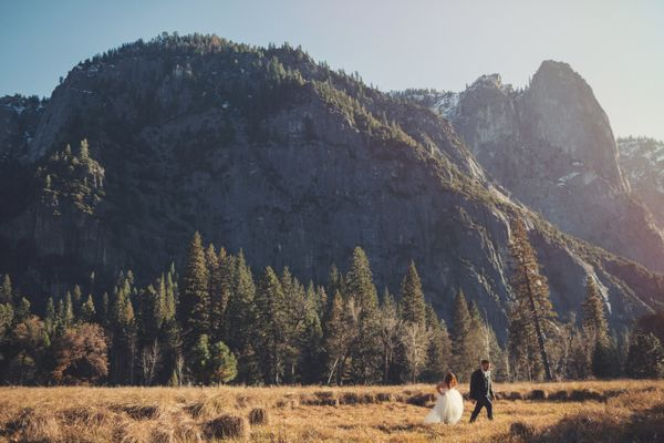 """Jessica and Brandon got married in Yosemite National Park in California. Their ceremony was outdoors, facing the breathtakin"