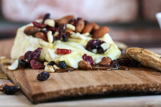 """<strong>Get the <a href=""""http://www.eatliverun.com/grilled-brie-with-honey-and-trail-mix/"""">Grilled Brie With Honey And Trail"""