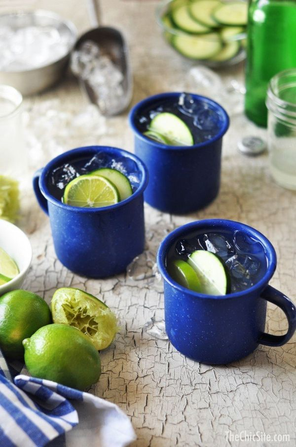 """<strong>Get the <a href=""""http://thechicsite.com/2014/06/25/moscow-mule/"""" target=""""_blank"""">Moscow Mules With Cucumber recipe</a"""