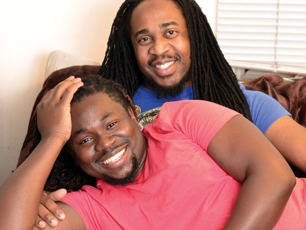 Timothy Daniels: My partner and I decided to take this picture after he got in from work. I am HIV-positive; my partner has s
