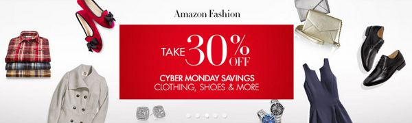 """<a href=""""http://r.zdbb.net/u/u5v"""">Amazon 30% off Shoes, Clothing, Jackets &amp; Watches and more</a> with code: <strong>CYBER"""