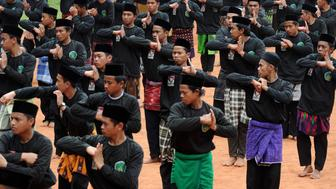 Members of the Nadlatul Ulama (NU) organisation perform Indonesia's traditional martial art 'pencak silat' during a ceremony to mark the 85th anniversary of the Nahdlatul Ulama in Jakarta on July 17, 2011.  The Nahdlatul Ulama is the largest Muslim organization in Indonesia and one of the largest independent Islamic organizations in the world with more than 50 million members. AFP PHOTO / ADEK BERRY (Photo credit should read ADEK BERRY/AFP/Getty Images)