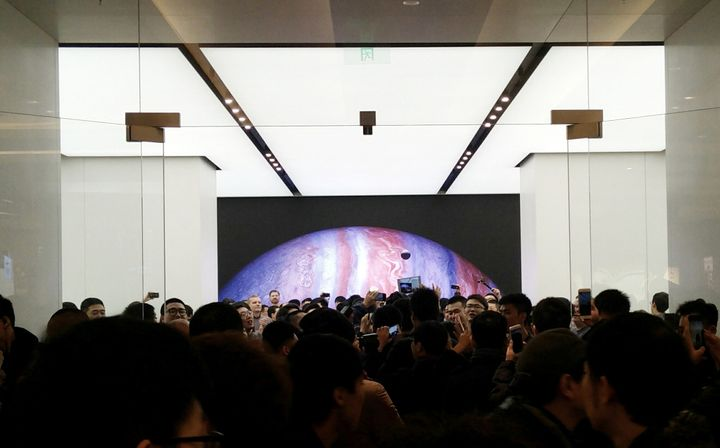 An Apple store in Beijing, China, where the tech giant's operations are carbon-neutral.