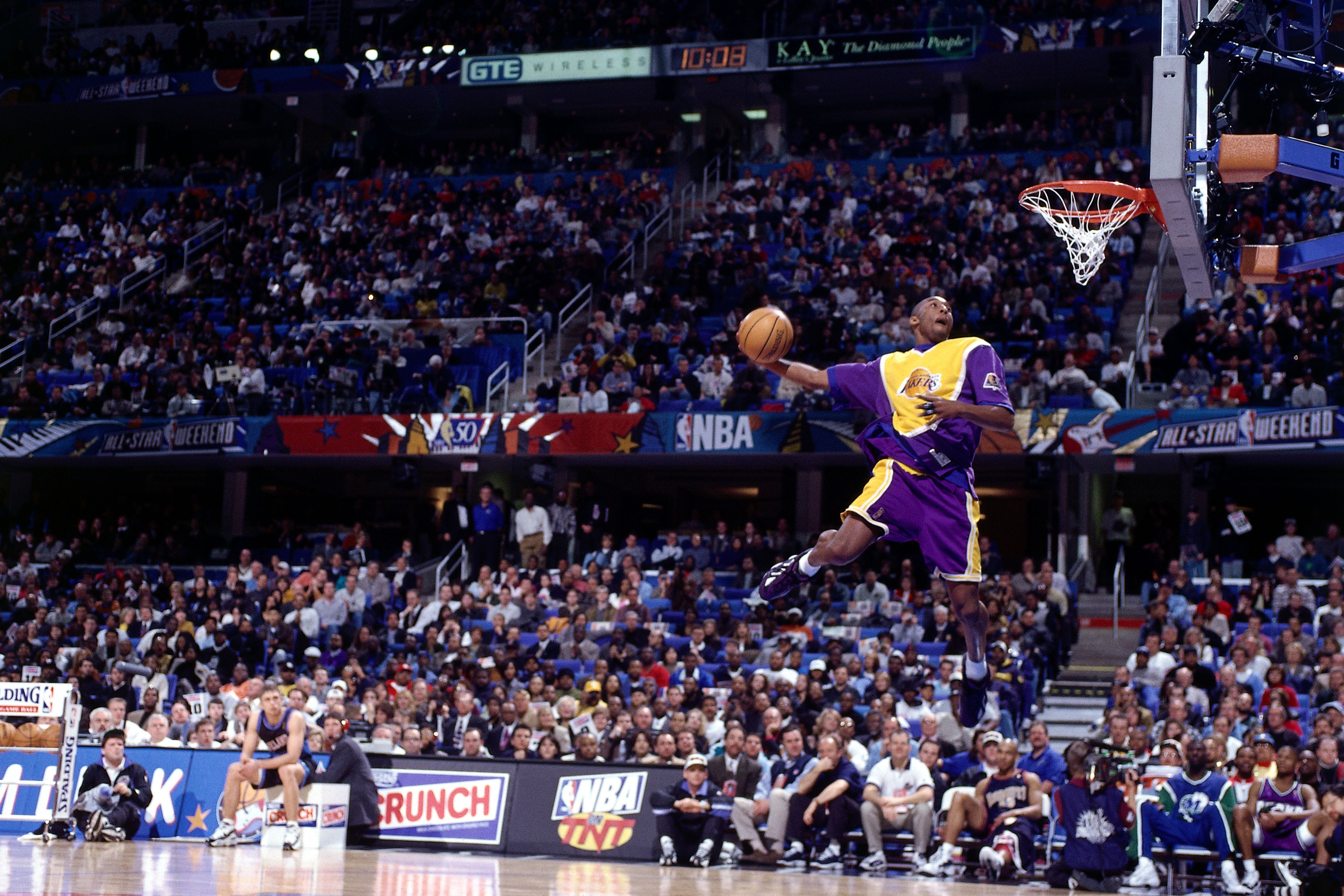 Bryant goes up for one of the dunks that won him first place in the NBA All-Star Slam Dunk Contest at Gund Arena on Feb.&nbsp