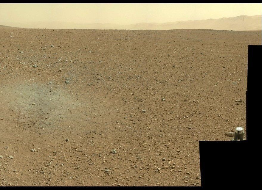 This is an image taken by the Curiosity rover as it sits on Mars in its early days on the red planet after safely landing in