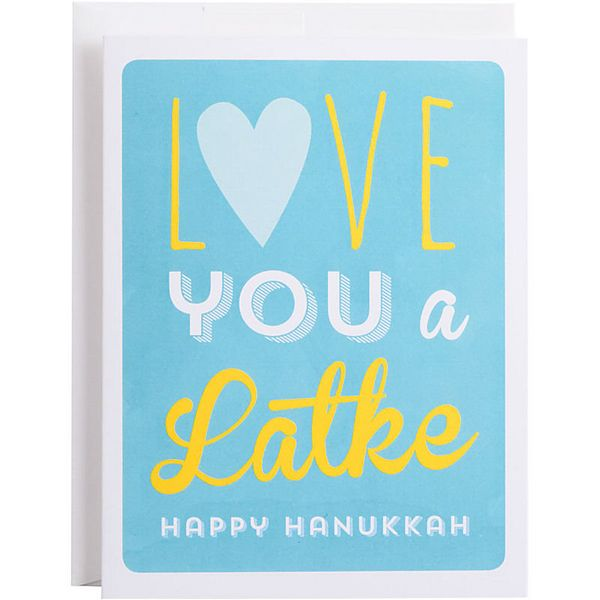 """Buy it <a href=""""http://www.papersource.com/item/Love-You-A-Latke-Holiday-Card/3400_011/807205.html"""">here</a>."""