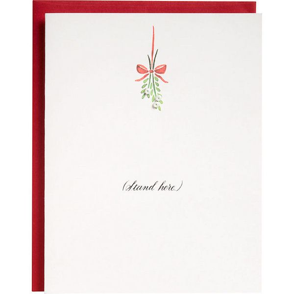 """Buy it <a href=""""http://www.papersource.com/item/Mistletoe-Holiday-Card/3400_011/463532.html"""">here</a>."""