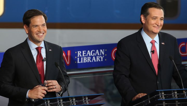 Republican presidential candidates Sen. Marco Rubio, left, and Sen. Ted Cruz during the September debate at the Reagan L