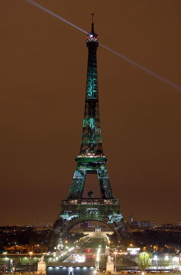PARIS, FRANCE - NOVEMBER 29:  An artwork entitled 'One Heart One Tree' by artist Naziha Mestaoui is displayed on the Eiffel t