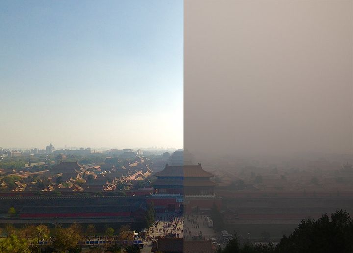 Beijing's Forbidden City on clear and smog-filled days.