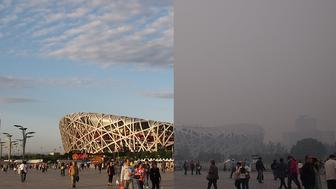 "Beijing's National Stadium, better known as ""the birds nest"", on a clear and smoggy day."