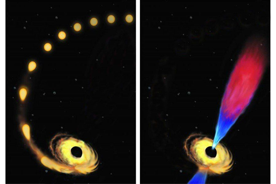 "Artist's conception of a star being drawn toward a black hole and destroyed (left), and the black hole later emitting a ""jet"" of plasma composed of the debris left from the star's destruction."