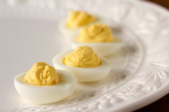 """<strong>Get the <a href=""""http://www.browneyedbaker.com/deviled-eggs/"""">Deviled Egg recipe</a> from Brown Eyed Baker</strong>"""