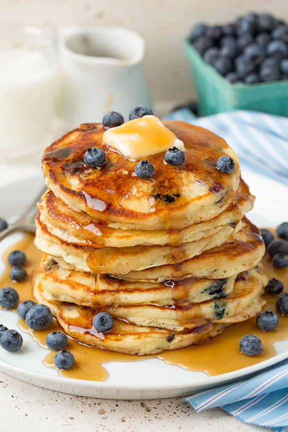 """<strong>Get the <a href=""""http://www.cookingclassy.com/2015/08/blueberry-sour-cream-pancakes/"""">Sour Cream Blueberry Pancake re"""