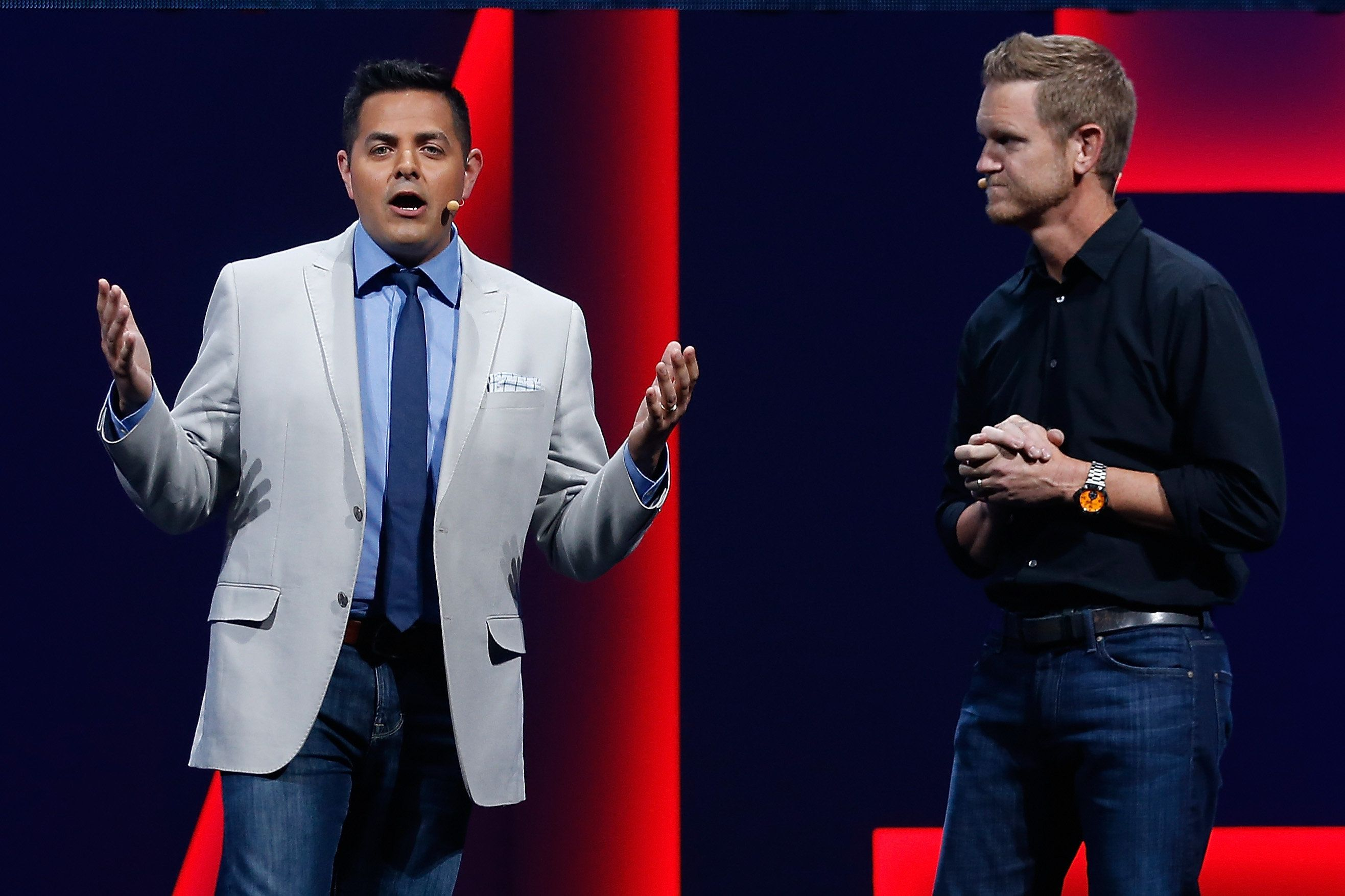 LOS ANGELES, CA - JUNE 15:  ESPN journalist Robert Flores (L) and Senior Producer Seann Graddy (R) introduce 'Madden NFL 16' during the Electronic Arts E3 press conference at the LA Sports Arena on June 15, 2015 in Los Angeles, California. The EA press conference is held in conjunction with the annual Electronic Entertainment Expo (E3) which focuses on gaming systems and interactive entertainment, featuring introductions to new products and technologies.  (Photo by Christian Petersen/Getty Images)