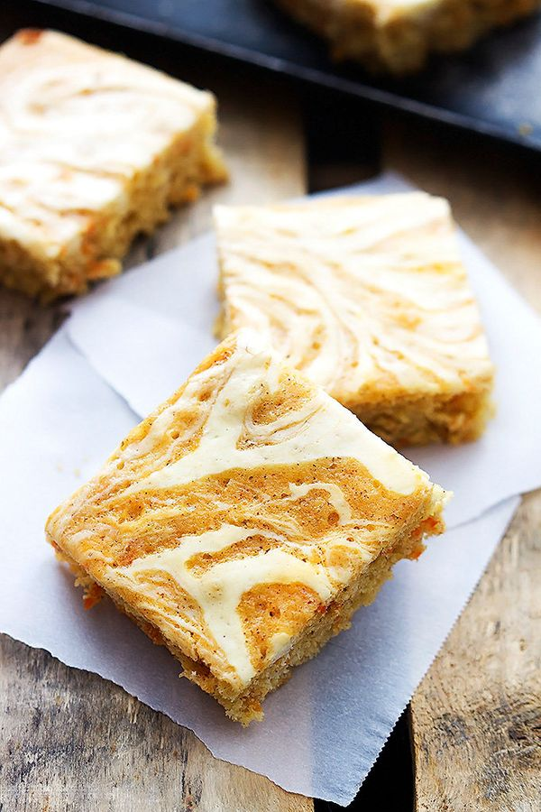 """<strong>Get the <a href=""""http://lecremedelacrumb.com/2015/03/cream-cheese-swirled-carrot-cake-bars.html"""" target=""""_blank"""">Crea"""