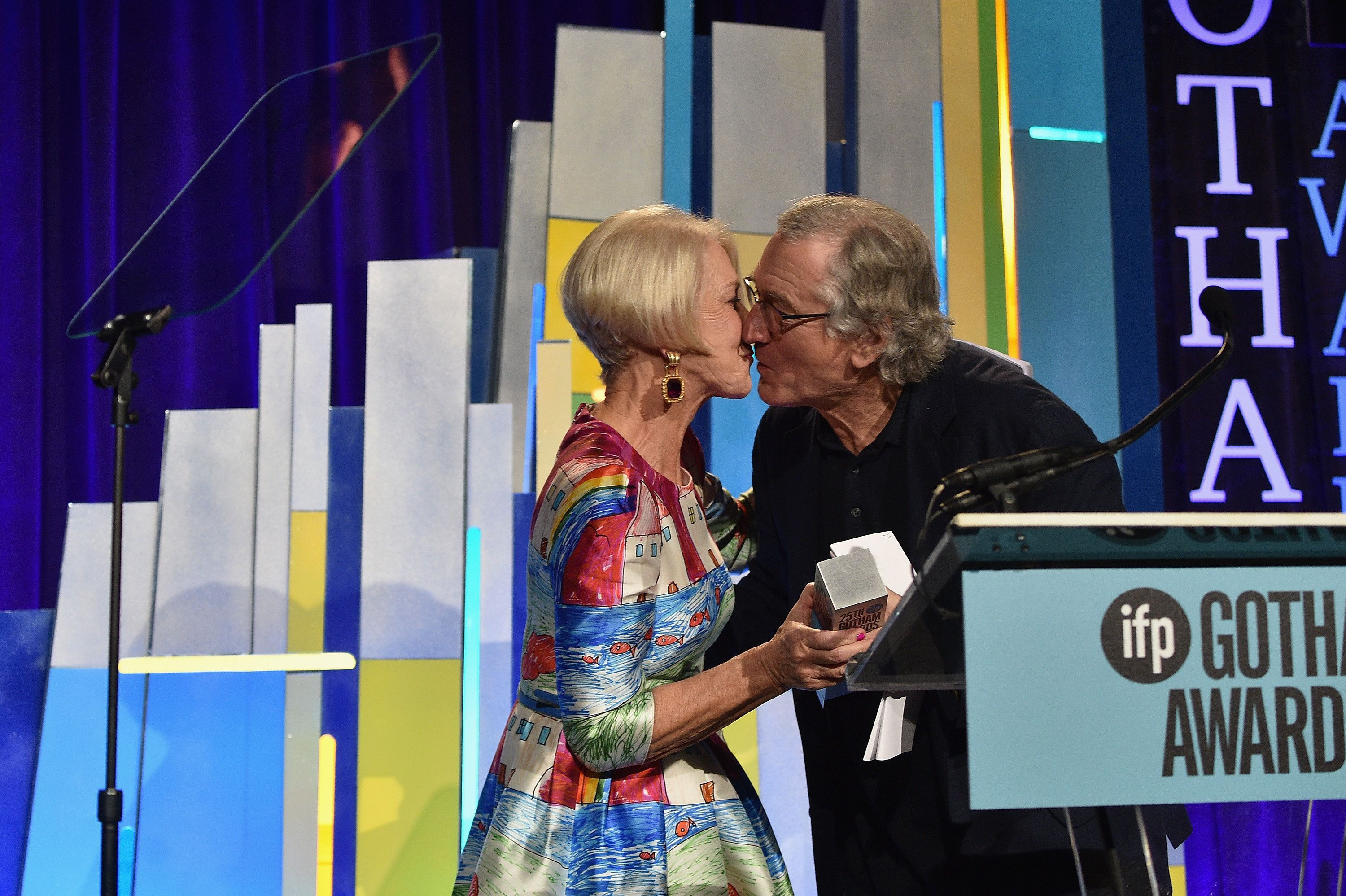 NEW YORK, NY - NOVEMBER 30:  Helen Mirren and Robert De Niro speak onstage at the 25th IFP Gotham Independent Film Awards co-sponsored by FIJI Water at Cipriani, Wall Street on November 30, 2015 in New York City.  (Photo by Larry Busacca/Getty Images for IFP)