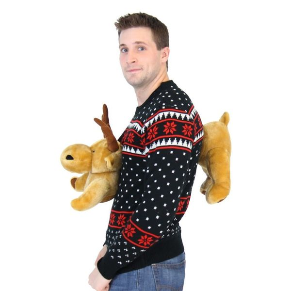 Ugly Christmas Sweater with Reindeer through the chest