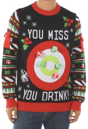 "This ugly Christmas sweater will liven up any party. That is, if you <a href=""http://www.tipsyelves.com/mens-drinking-game-ch"