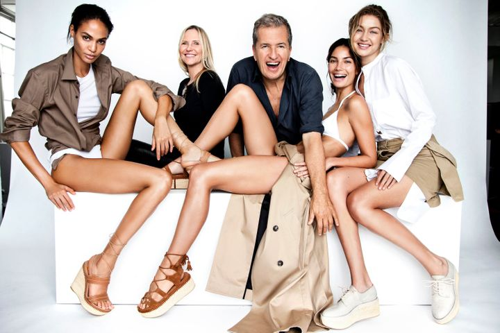 Mario Testino behind-the-scenes with Smalls, Alridge and Hadid at the Stuart Weitzman Spring 2016 campaign shoot.