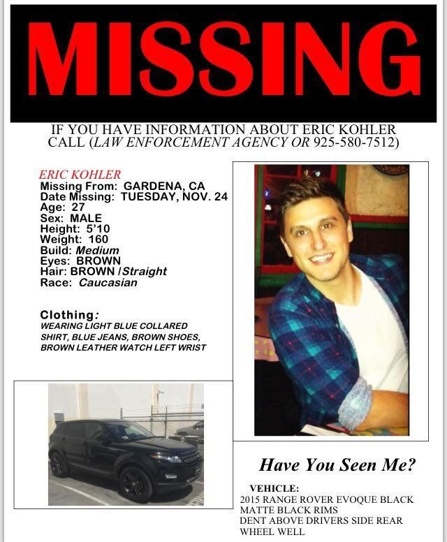 Eric Kohler, a Hollywood visual effects producer, has been missing since Nov. 24.