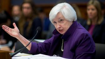 Janet Yellen, chair of the U.S. Federal Reserve, speaks during a House Financial Services Committee hearing in Washington, D.C., U.S., on Wednesday, Nov. 4, 2015. Yellen said an improving economy has set the stage for a December interest-rate increase if economic reports continue to assure policy makers that inflation will accelerate over time. Photographer: Andrew Harrer/Bloomberg via Getty Images