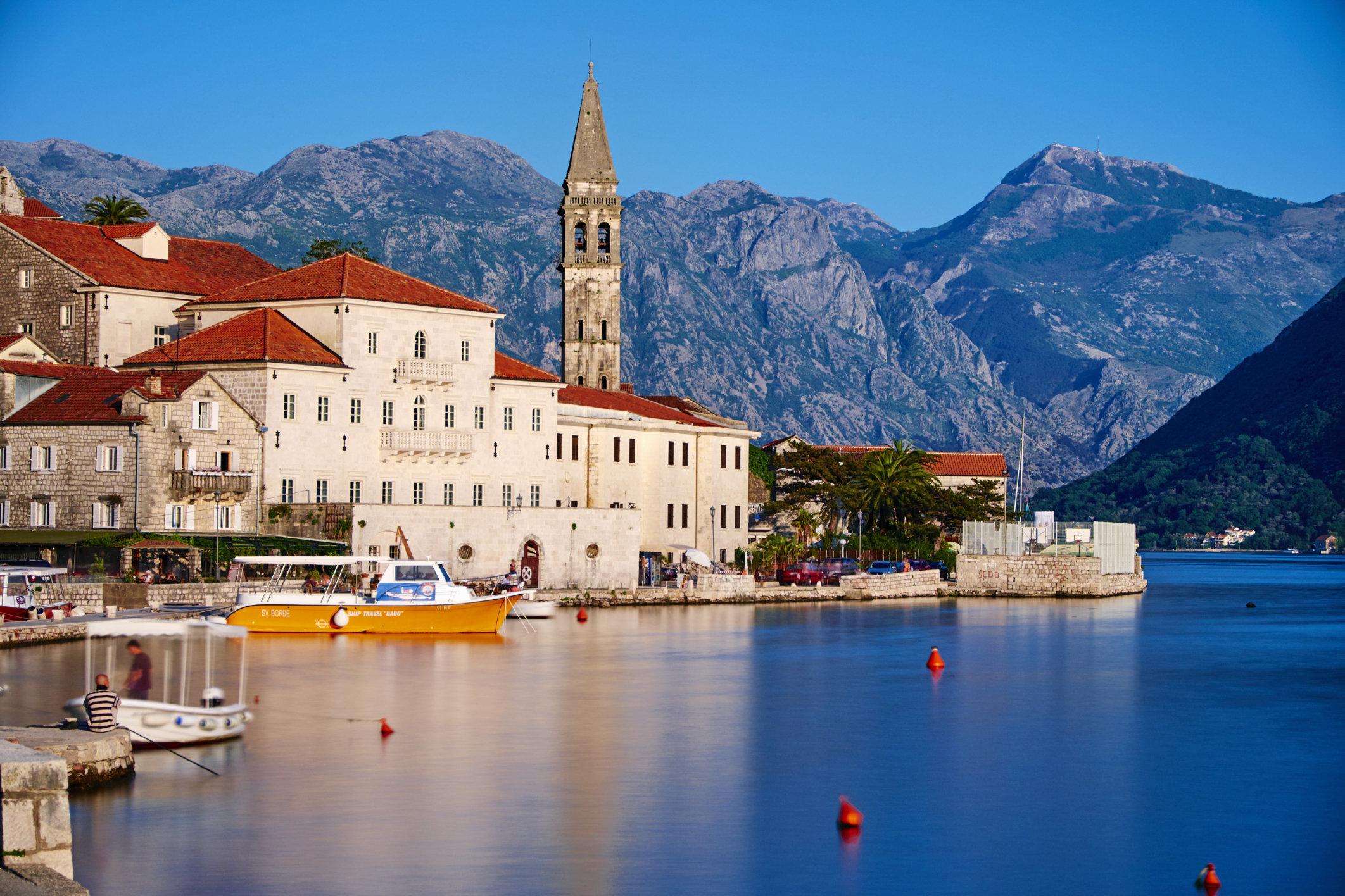 Montenegro, Adriatic coast, Bay of Kotor, Kotor, village of Perast, church tower