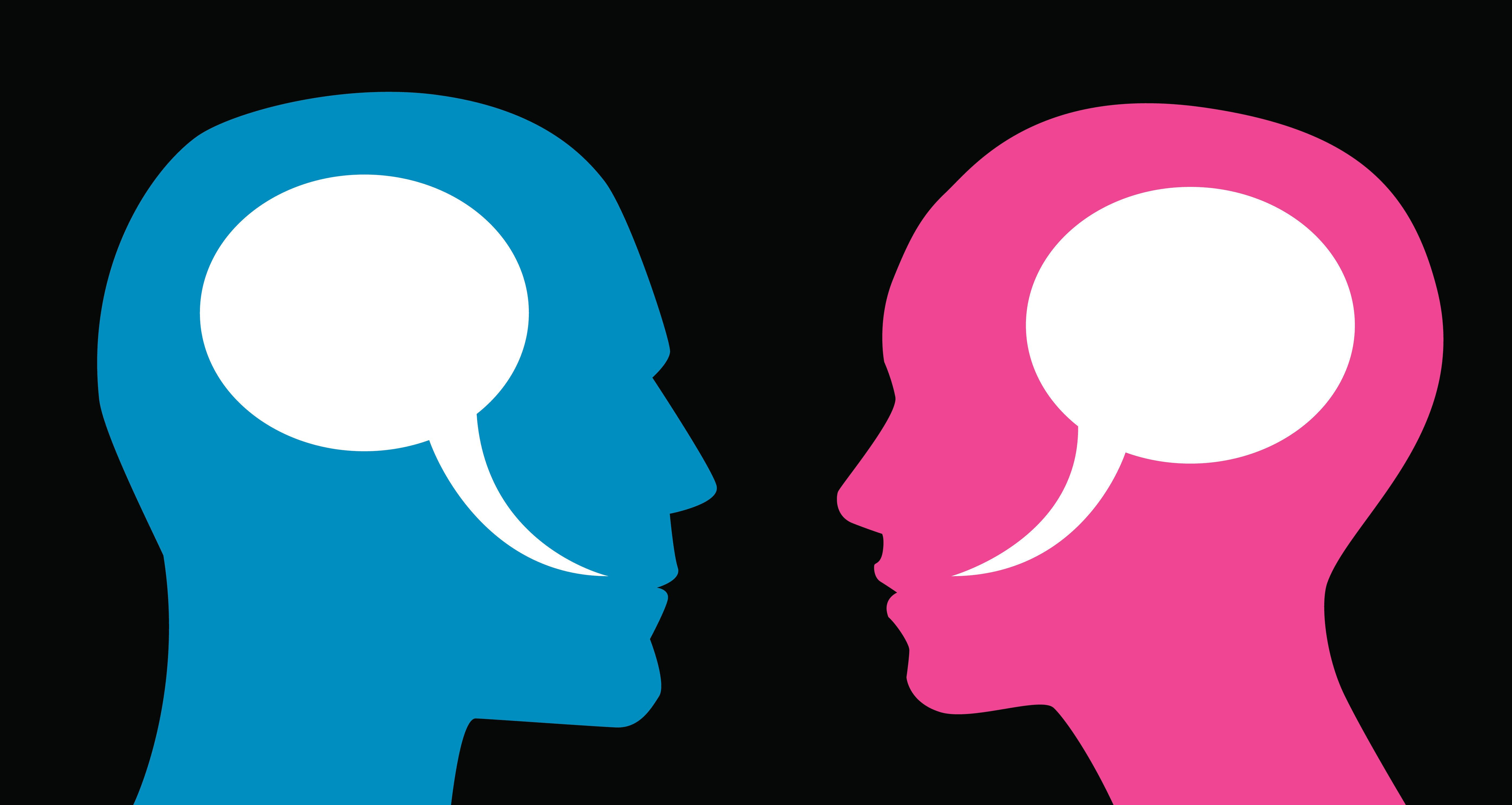 Vector illustration of two profiles of a man and woman with speech bubbles inside their heads.