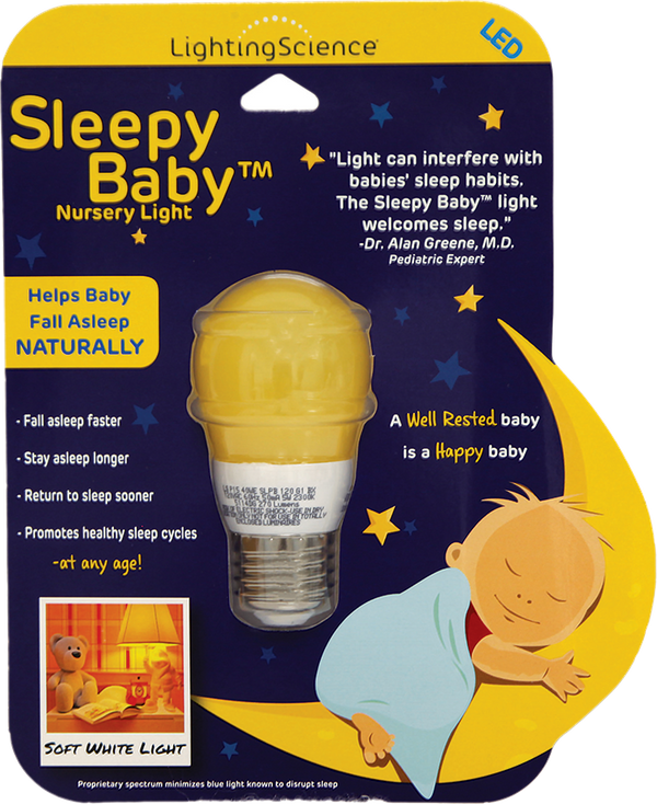 While different types of light can disrupt sleep, the Sleepy Baby bulb emits soft white light in an effort to promote healthy