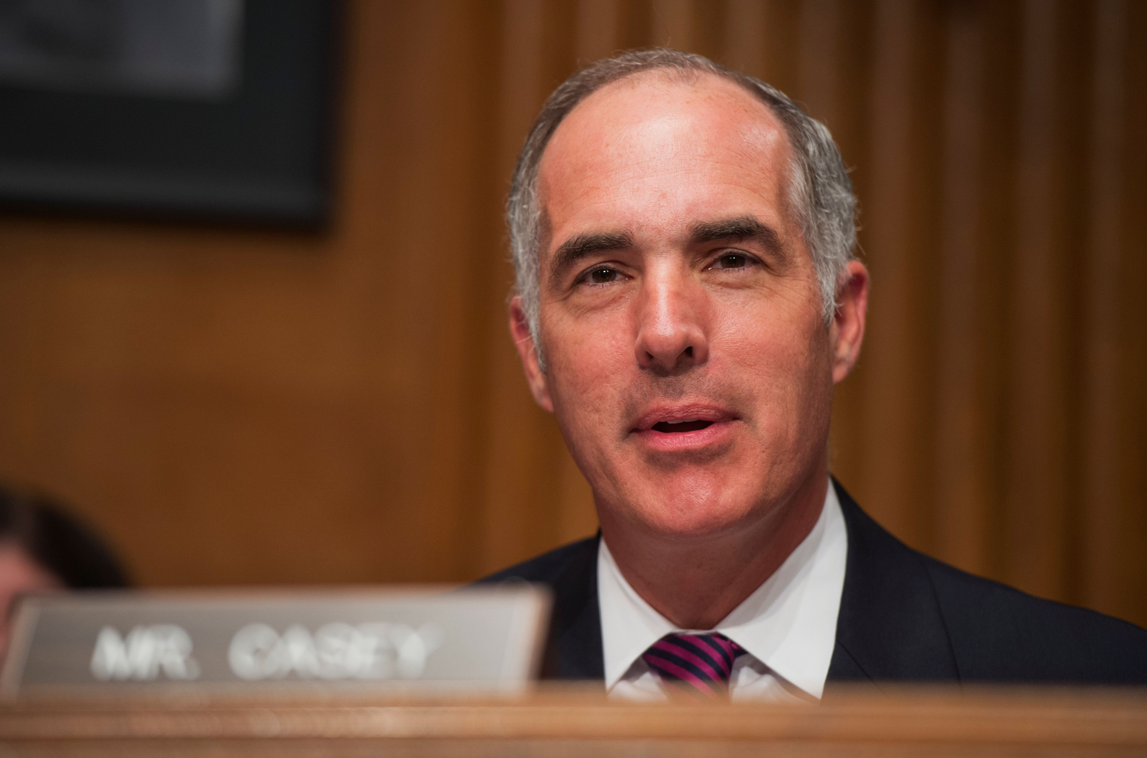 UNITED STATES - JULY 24: Sen. Bob Casey, D-Pa., makes a statement during Joint Economic Committee hearing in Dirksen Building on fixing the nation's deteriorating infrastructure. (Photo By Tom Williams/CQ Roll Call)