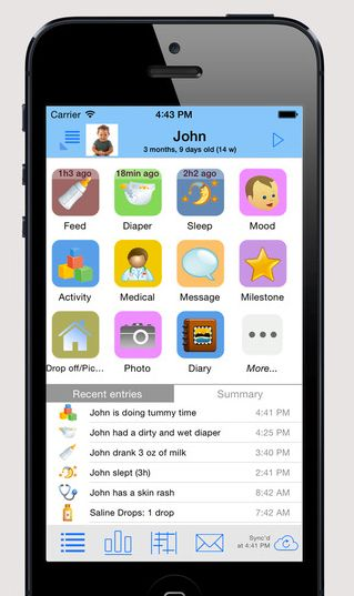 This activity logger allows you to track your baby's naps alongside feeding times and other aspects of baby care and we