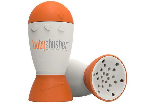 The Baby Shusher looks sort of like a minimalist pepper mill, and is small enough to be placed in the baby's crib. The