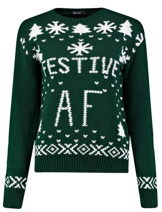 "Festive AF Slogan Christmas Jumper $26, <a href=""http://www.boohoo.com/boohoo-petite-tops+knitwear/petite-festive-af-slogan-c"