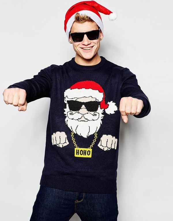 """New Look Navy Christmas Jumper with Santa Design $36, <a href=""""http://us.asos.com/New-Look-Navy-Holidays-Sweater-with-Santa-P"""