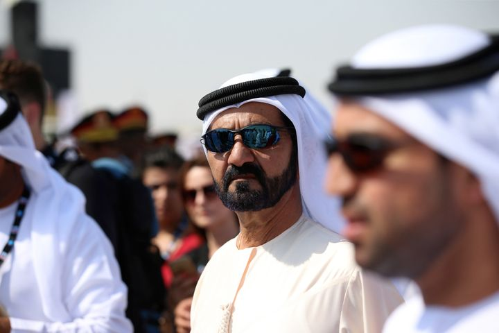 Sheikh Mohammed bin Rashid Al Maktoum, the ruler of Dubai, center, tours the 14th Dubai Air Show at Dubai World Central on it